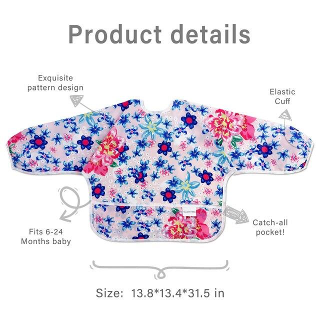 Baby Bibs Waterproof Long Sleeve Infant Feeding Bib with Pocket Cute Cartoon Apron Kids Burp Cloth Unisex Baby Stuff Fashion Bib 6