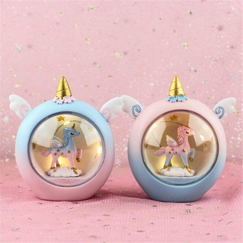 Azul/Rosa caballo de dibujos animados interruptor de luz nocturna regalos de lámpara de noche para chico/Bebé/niños lámpara de noche para dormitorio luz con batería nocturna