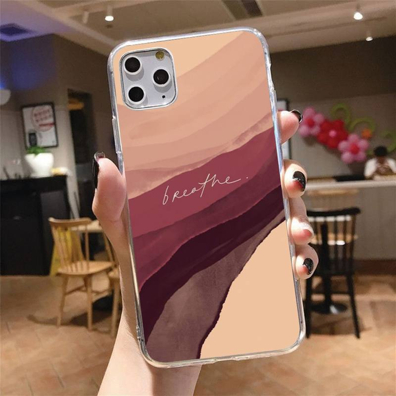 Art blooming pattern abstract Phone Case Transparent for iPhone 6 7 8 11 12 s mini pro X XS XR MAX Plus cover funda shell  - buy with discount