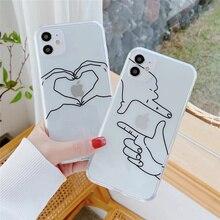 Прозрачный сердце жест Чехол для мобильного телефона для iPhone 12 11 Pro Max 7 8 Plus X XR XS Max SE2020 прозрачный мягкий чехол из термополиуретана с текстурой под кожу питона крышка