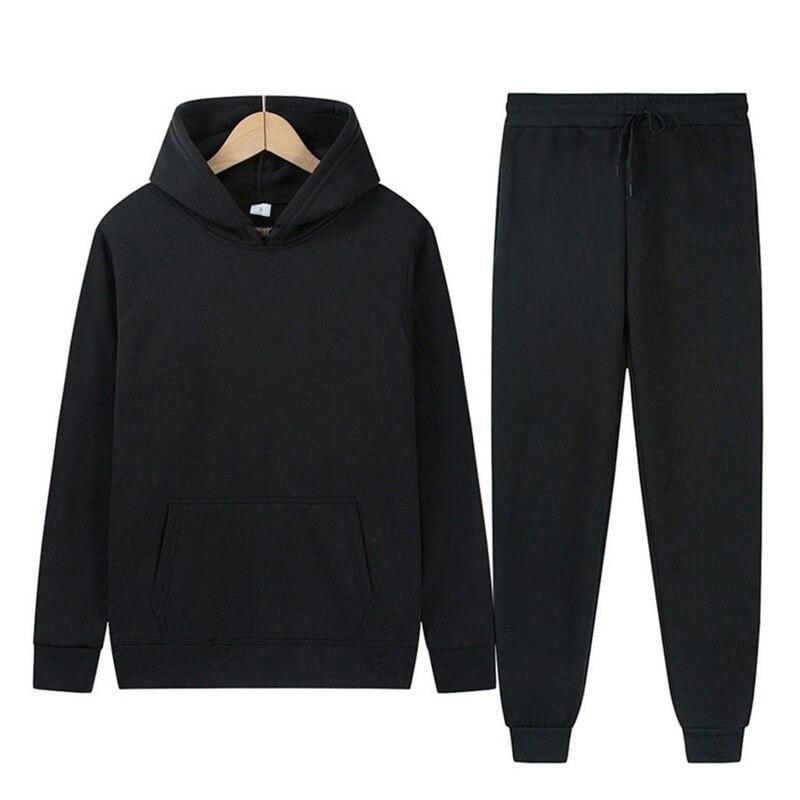 2021 New Men Fashion Hoodies Men Suits Solid Sets Men Sweatshirts+Sweatpants Spring Autumn Fleece Hooded Pullover 2 Pieces Set