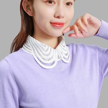 White fake collar ladies Blouse Korean style 2019 Autumn Lace turndown collar Winter Elegant Women Fake Half Shirt Detachable