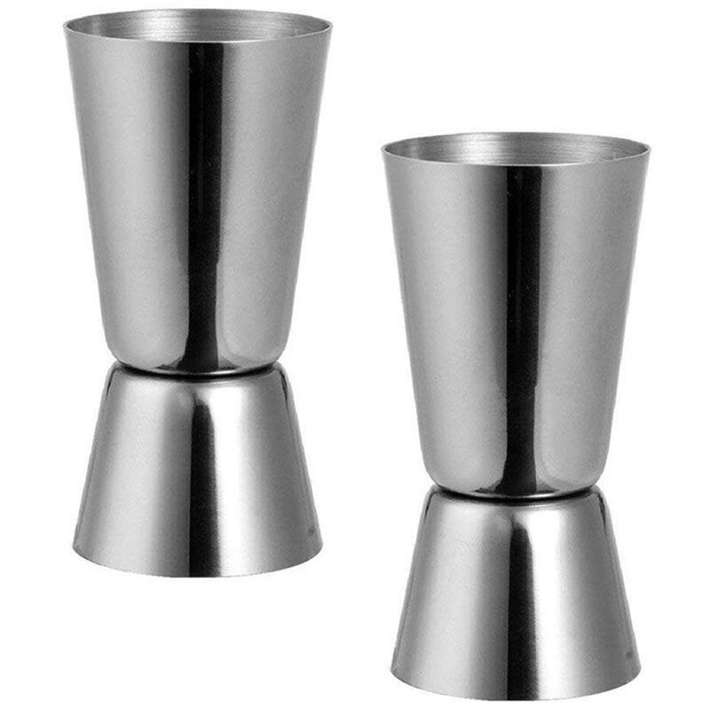 Jigger Bar Craft de acero inoxidable de 25/ 50 ml, taza de medida de doble espíritu, taza medidora para Bar de clavija, fiesta, cóctel de vino, coctelera
