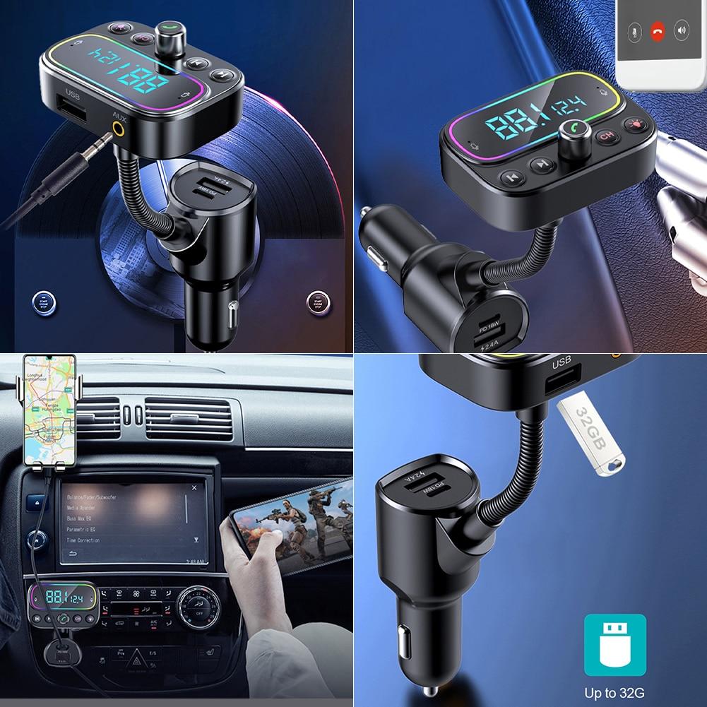 2021 модный многофункциональный автомобильный FM-трансмиттер с синими зубьями автомобильный музыкальный mp3-плеер автомобильный PD3.0 QC Быстрая ...