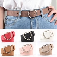 hot sale adult girls frosted leather heart shape pin buckle female belt 1pc gifts beautiful adjustable student candy color pu