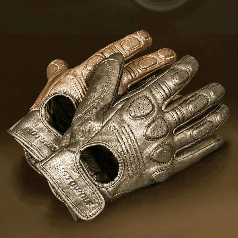 Retro Sheepskin Breathable Leather Motorcycle Gloves Racing Gloves Men's Motocross Winter&Summer Gloves Full/Half-finger gloves