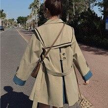 Navy Collar Windbreaker Jacket Womens British Style Mid-length 2021 Autumn Korean Style Loose Khaki