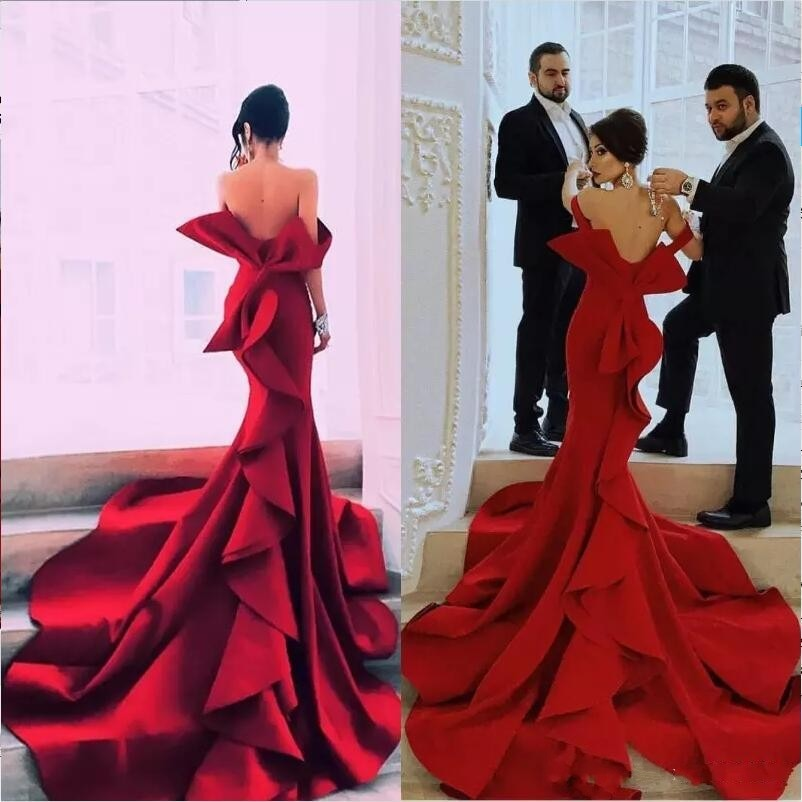 Sexy Tiered Mermaid Evening Dresses Long 2020 Strapless Backless Red Carpet Celebrity Evening Party Dress Big Bow Women Gown amazing 2020 new prom dresses ball gown tiered ruffled tulle purple unique evening dress strapless celebrity pageant gowns