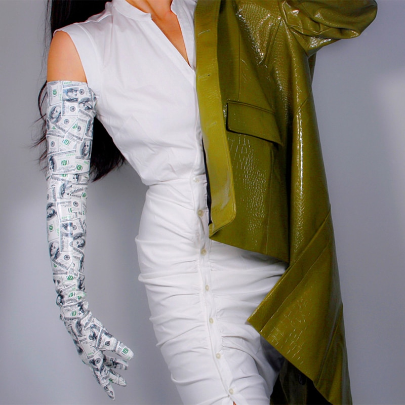 Латексные длинные перчатки из искусственной кожи, блестящие лакированные кожаные перчатки 28 дюймов, 70 см, женские вечерние длинные кожаные ...