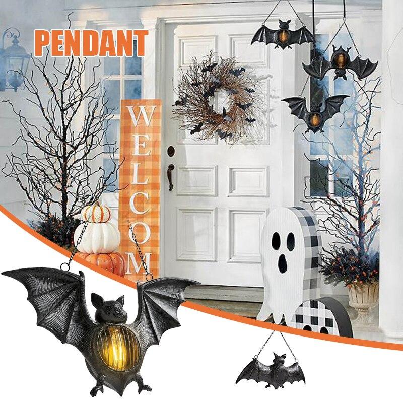 محاكاة الخفافيش LED فانوس رسمت باليد الراتنج هالوين حلية معلقة للمنزل حديقة الشرفة الديكور NIN668