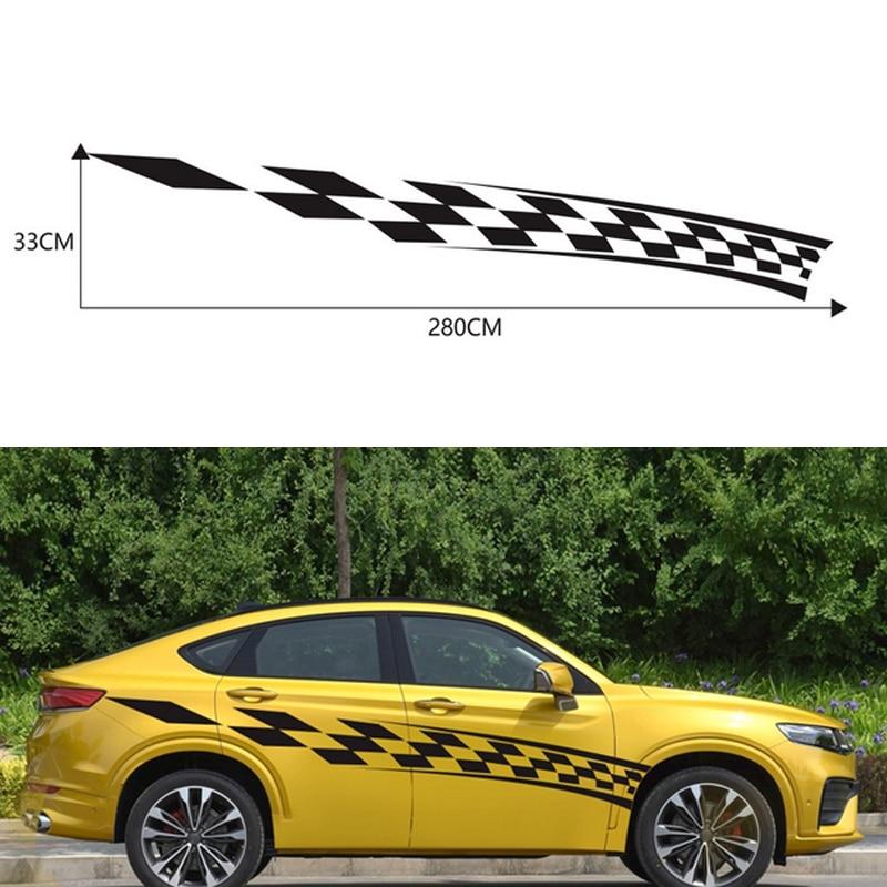 Pegatina lateral de 2 piezas para puerta de coche con patrón de carrocería, pegatinas para coche, Auto Carrera, bandera, coche, vinilo