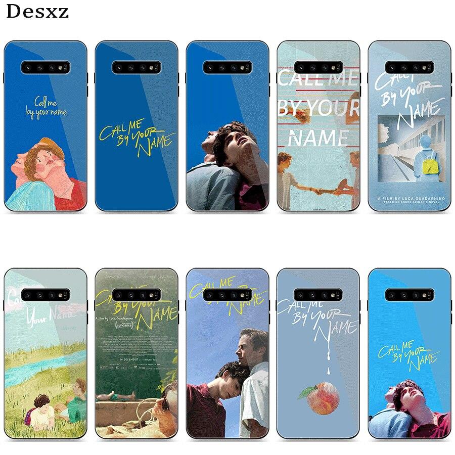 Funda de teléfono de cristal para Samsung A51 A71 A30 A40 A50 A60 A70 S7 Edge S8 Plus Note 8 9 S10 cubierta llamame por tu nombre