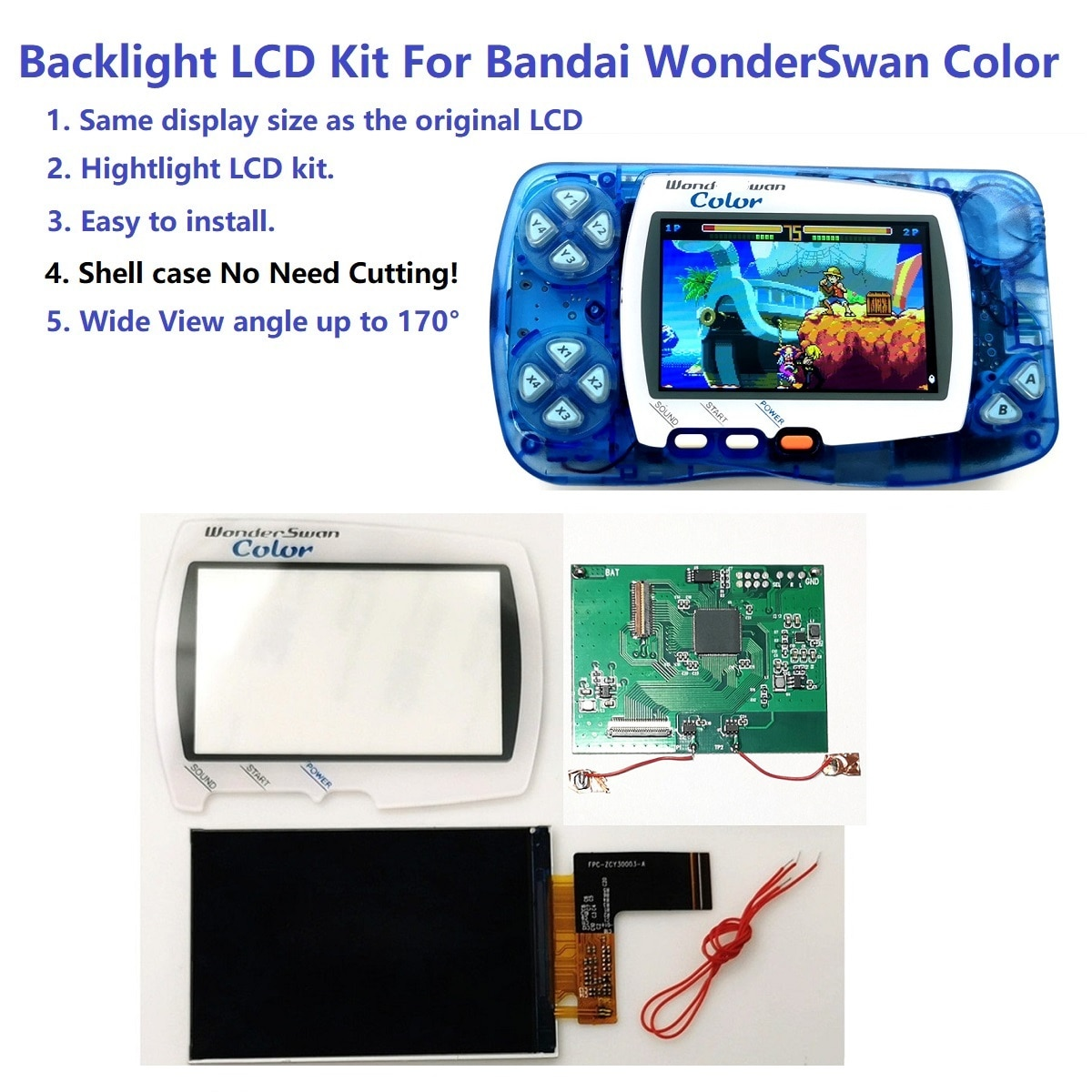 Hightlight 백라이트 밝기 IPS LCD 스크린 키트 반다이 WonderSwan 색상 WSC 게임 콘솔