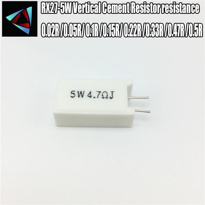 2pcs RX27-5W METROS QUADRADOS Verticais Cimento Resistor resistência 0.02R 0.05R 0.1R 0.15R 0.22R 0.33R 0.47R 0.5R OHM
