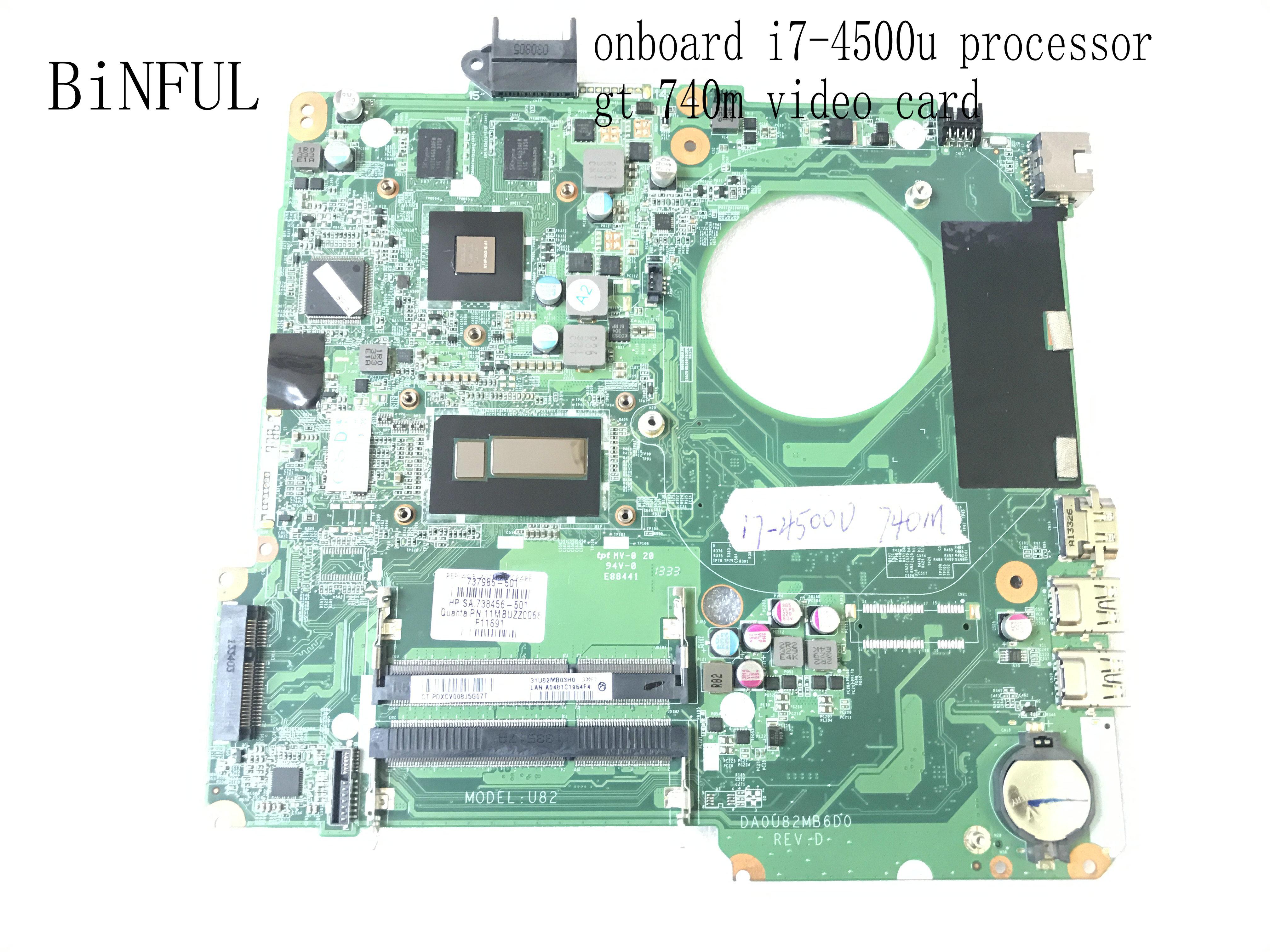 BiNFUL marca nuevo... DA0U82MB6D0 REV  D para HP PAVILION 15-N portátil placa base I7-4500U GT 740M 2gb (stock Calificado bien)