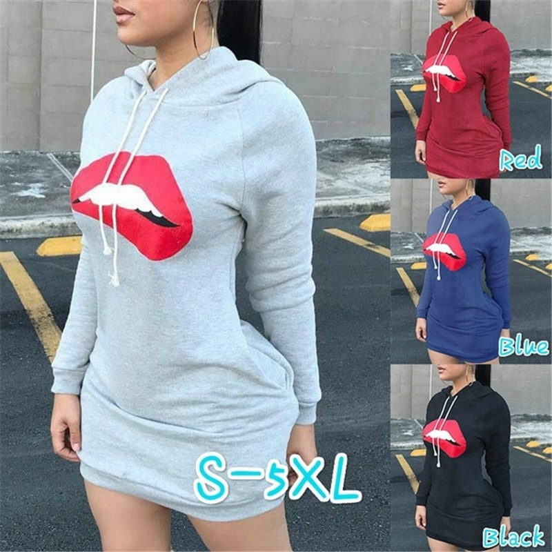 Сексуальные красные губы Принт с капюшоном женское осенне-зимнее модное тонкое длинное платье Повседневный клубный пуловер с длинным рука...