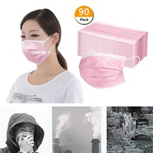 90 Pcs Pink Good Quality Disposable 3-ply Breathable Face Ma Sk For Lips Care Ear Loops Disposable M