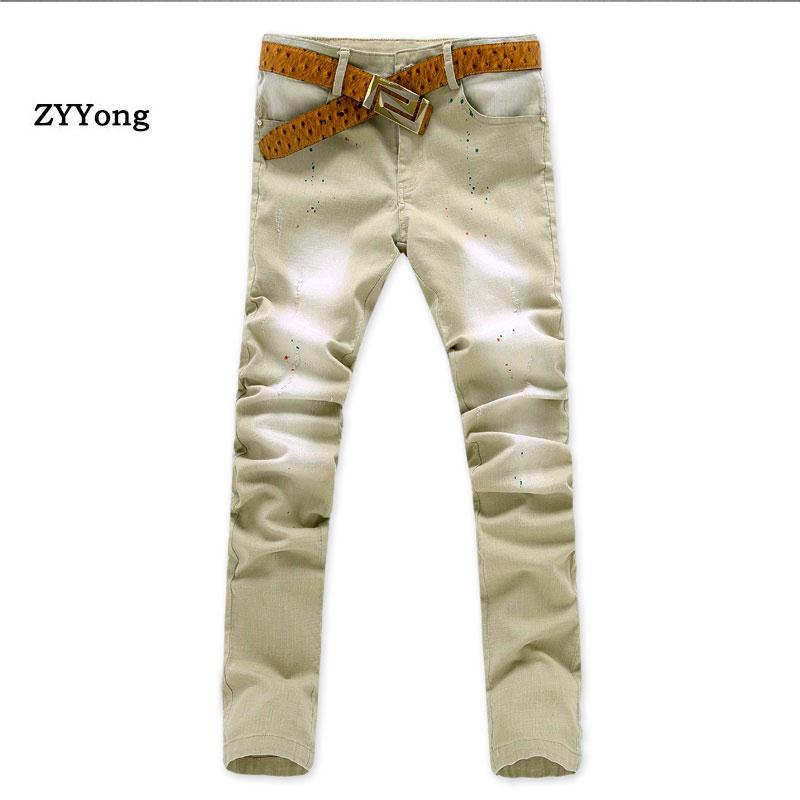 Джинсы мужские узкие стрейчевые, модные повседневные брюки из денима Slim Fit, Брендовые брюки цвета хаки, 2020