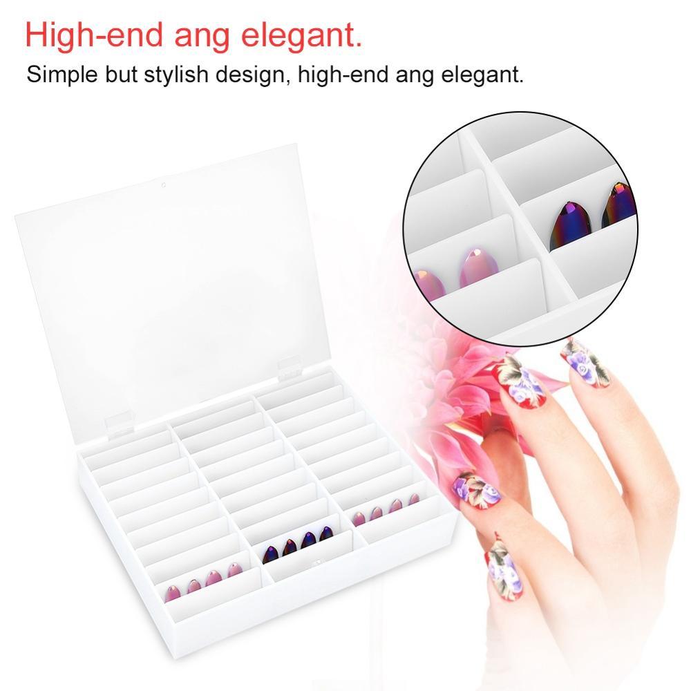 2019 chaud faux ongles conseils boîte de rangement ongles affichage clair compartiments nouveau plastique Casenail vernis organisateur Capsule