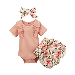 New Baby Girl 3 PCS Outfit Set Solid Color Short Sleeve Ruffle Button Closure Romper Short Flower Waist Belt Pants Hair Band