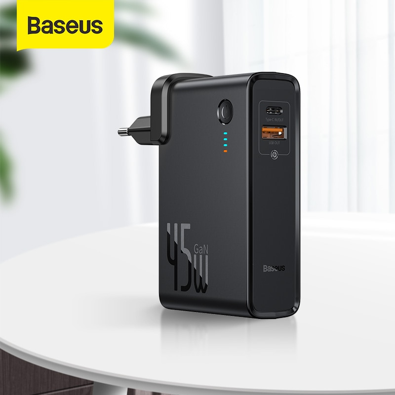 Baseus 2 in 1 Power Bank 10000mAh GaN Charger USB C PD Fast Charging Powerbank Portable Battery Char