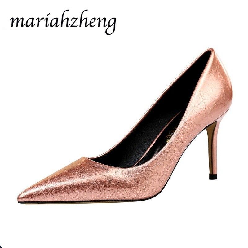 Meriahzheng 8CM moda Simple Stiletto zapatos de mujer boca baja tacones altos de Punta Sexy para fiesta de gran tamaño zapatos de mujer DS