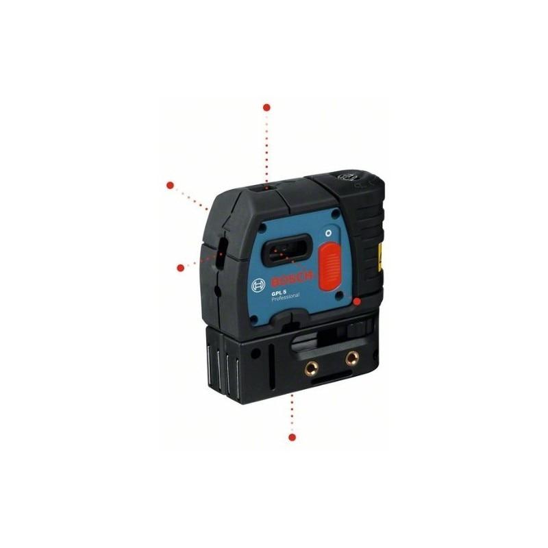 BOSCH 0601066200 Nivel láser puntos autonivelantes GPL 5 Professional 5 puntos Alcance 30m Compacto y ligero + Funda