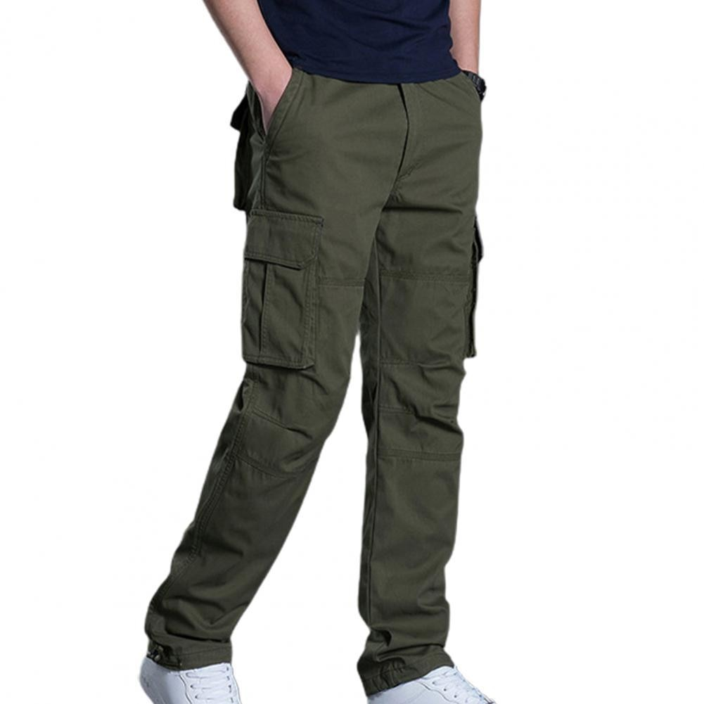 Casual Men Pants Multi Pockets Solid Color Cargo Pants Breathable Elastic Waist Camping Pants Workwe