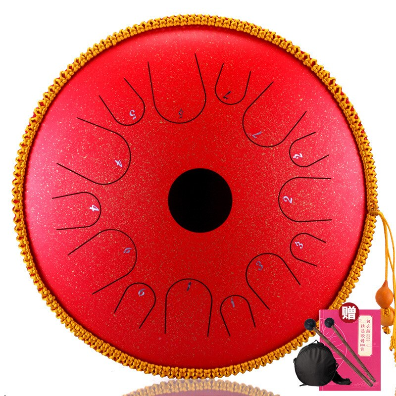 Hluru A 14 notes 14 inch Copper Stee C tones Tongue drum Percussion tambourine Instruments Ethereal Saucer Empty Hollow handpan enlarge