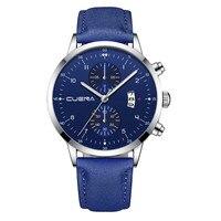 relogio masculino Men's Business Leath Belt Watch Man Three Eyes Six-Piece Calendar Quartz Watch reloj hombre