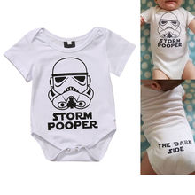 Newborn Star Wars Infant Baby Boy Short Sleeve Letter Printed Bodysuit Jumpsuit Clothes Outfits 0-18