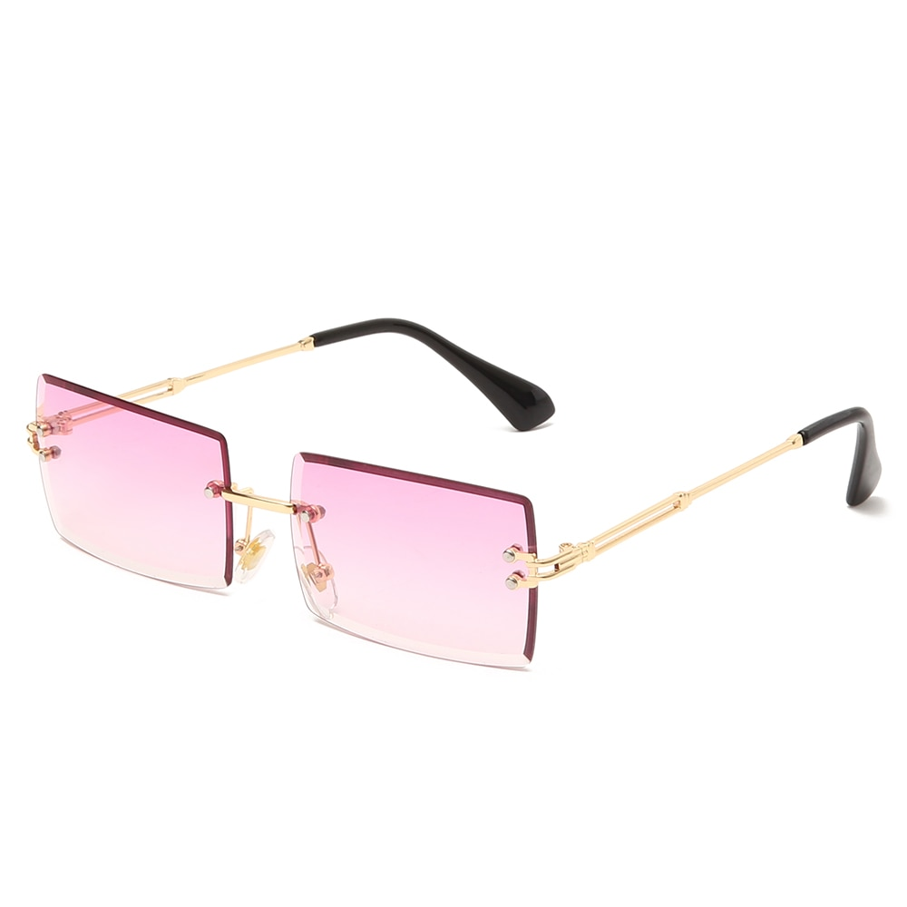 Fashion Square Rimless Sunglasses New Women Small Sun glasses Shades Luxury Brand Metal Sunglass UV4