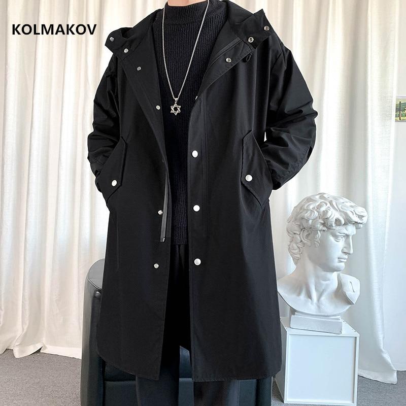 2021 الربيع طويل نمط معطف الرجال عالية الجودة عارضة خندق معطف ، عارضة hoooded السترات الرجال ، الرجال الملابس سترات FY09