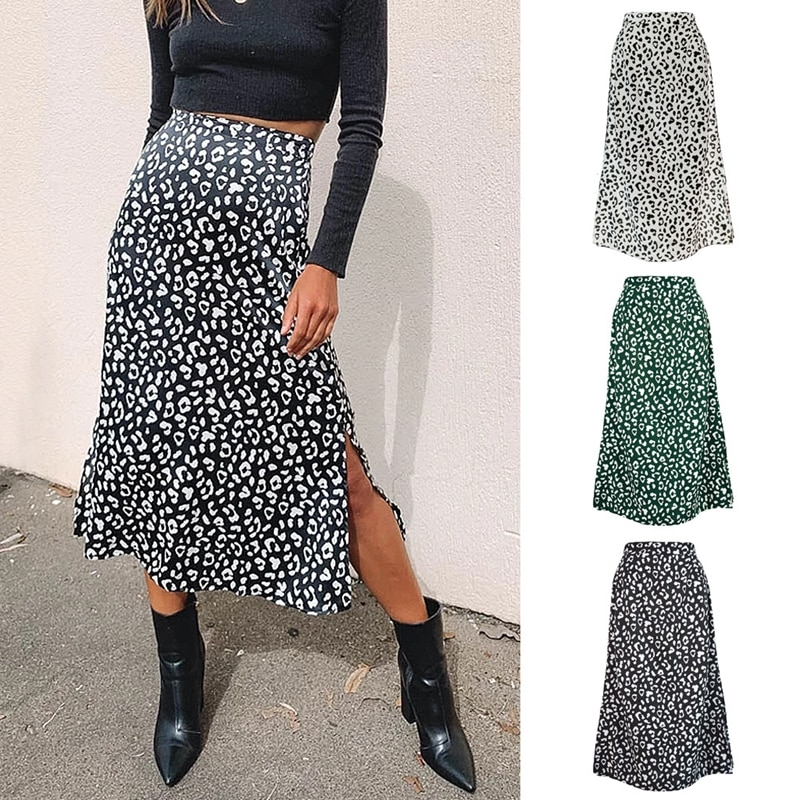 2020 Sexy Leopard Wrap Skirt Print Chiffon Split Skirt Casual Fashion Long Skirts for Women Spring Summer Clothes Zipper Elegant