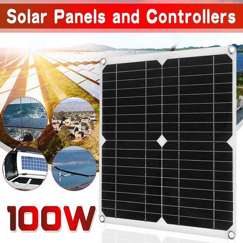 100 واط 12 فولت 18 فولت لوحة طاقة شمسية الخلايا الشمسية ألواح شمسية أحادية السيليكون لوحة طاقة شمسية بنك الطاقة + 30A تحكم شاحن بطارية الشمسية عدة