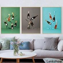 Affiche de décoration pour salle de cuisine   Affiche de décoration nordique minimaliste abstraite toile de verre, peinture artistique décoration murale pour salle à manger Bar