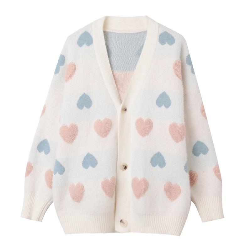 Korean Style Button V-Nec Long Sleeve Oversized Sweater Sweet Heart Pattern Sweater Women White Pink Autumn Cardigan Mujer 2019