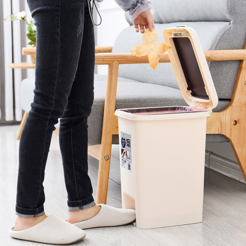 Creative Simple Trash Can With Lid Large Capacity Foot Pedal Waterproof Trash Can Kitchen Plastic Poubelle Home Supplies BS5LJT enlarge