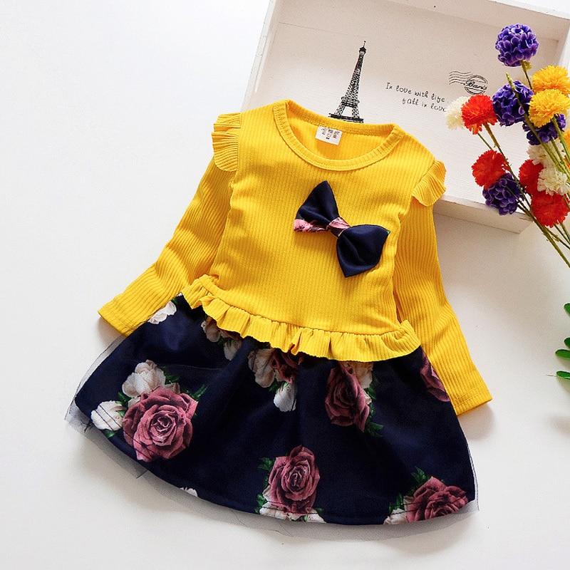 Spring Autumn Toddler Girl Dress Cotton Long Sleeve Toddler Dress Floral Bow Kids Dresses for Girls Fashion Girls Clothing