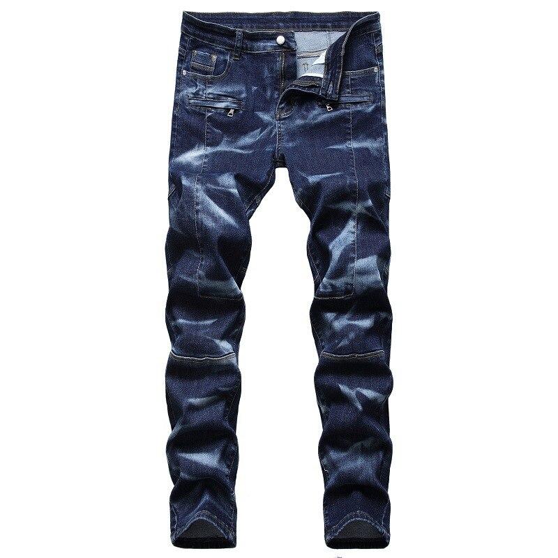 جديد الرجال الجينز مرونة النسيج جيب سستة الديكور عادية سليم تمتد الدنيم الجينز الذكور شخصية التمويه خليط