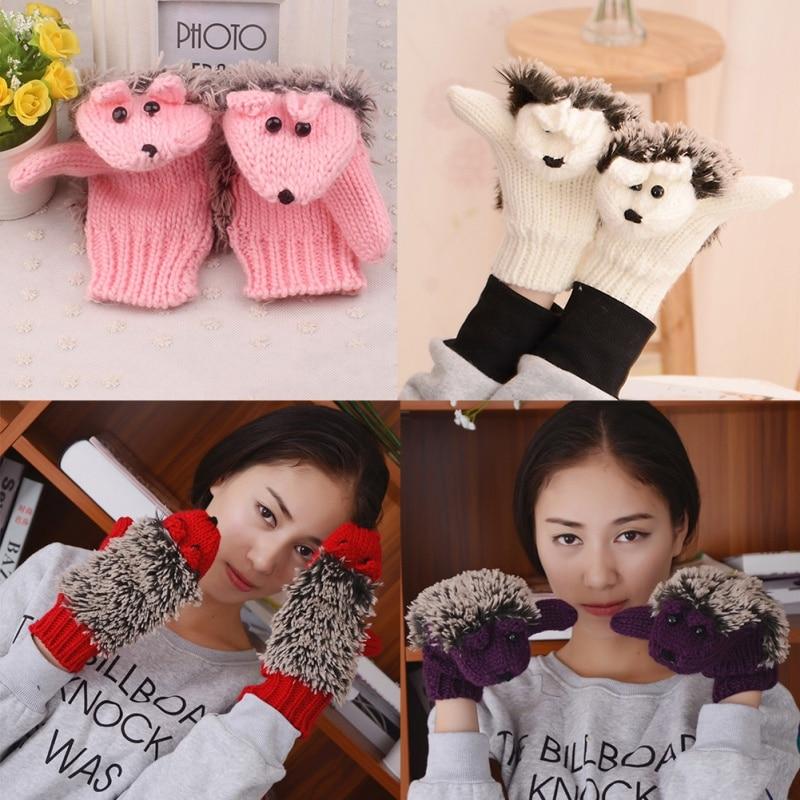 Gants dhiver de 8 couleurs en tricot   Gants de Fitness chauds pour femmes, gants de poignet, motif hérisson chauffé Villus, nouveauté