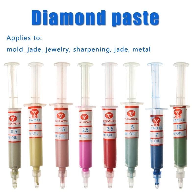 8 sztuk past diamentowych do polerowania, strzykawki złożone 0,5-10 mikronów