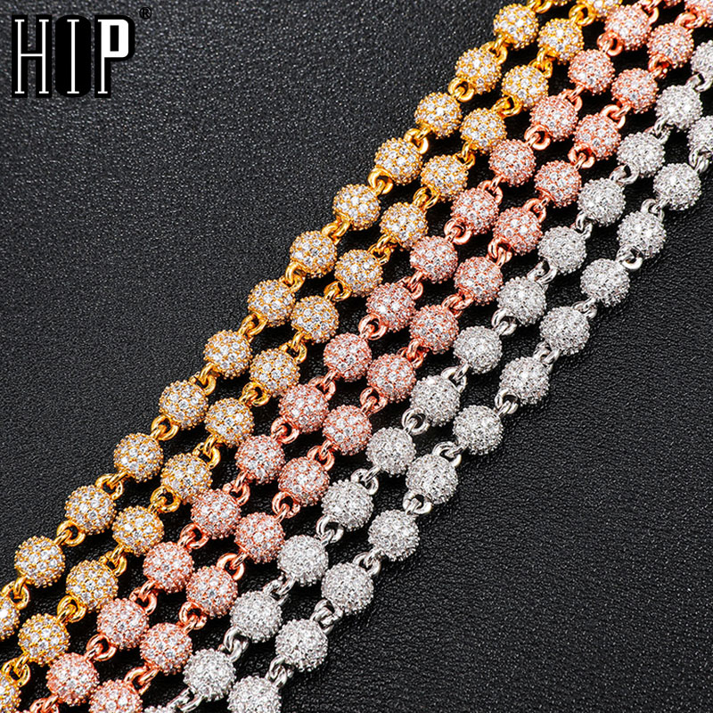 Hip Hop 6MM Bling Iced Out Round AAA+ CZ Stones Cubic Zirconia Ball Chains Necklaces For Men Women Chokers Jewelry