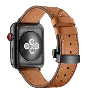 Luxury Genuine Leather Butterfly Bracelet For Apple Watch Band 38mm 42mm 40mm 44mm iWatch Strap Series 3 4 5 6 Se Watchband
