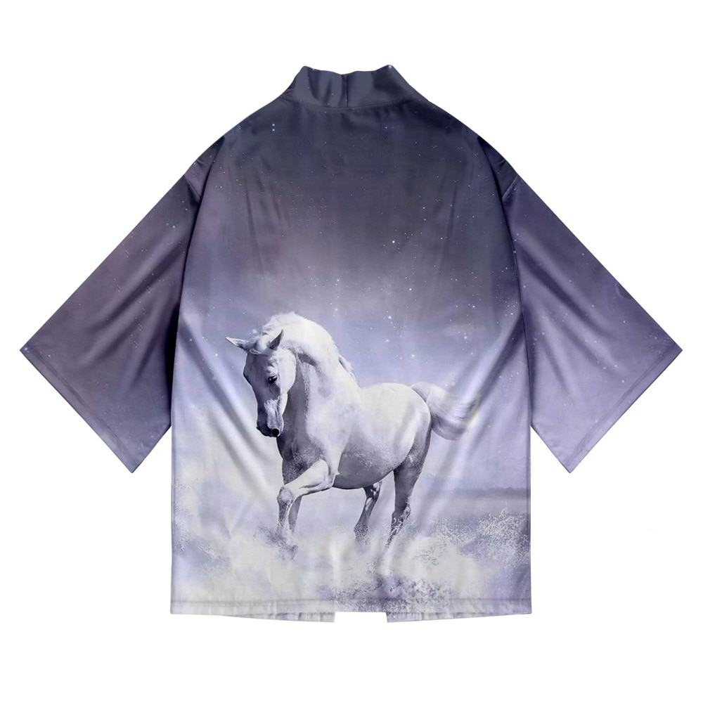Cavalo impressão quimono japonês cardigan masculino feminino samurai traje streetwear engraçado haori yukata unisex fino solto roupas