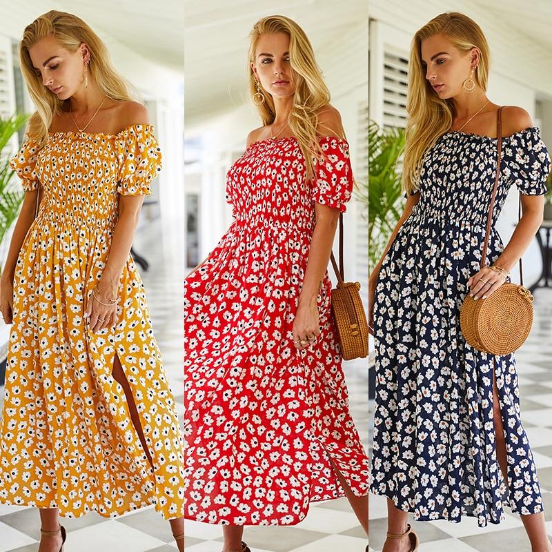 Woman Summer Dress Fashion Short Sleeve Floral Women Vintage Slit Slim Print Casual Long