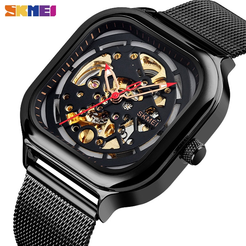2021 SKMEI Fashion Mechanical Watch Men Clock Automatic Watch Quartz Waterproof Hollow Art Strainless Steel Strap Montre Homme