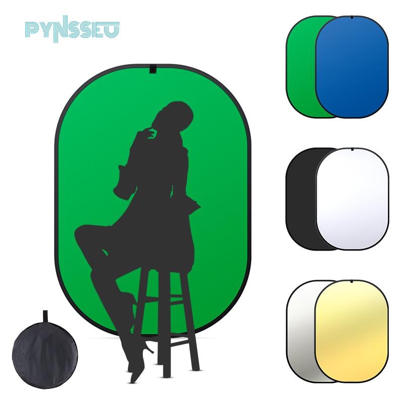 PYNSSEU 5x7ft للطي شاشة خضراء خلفية عكسها لوحة الخلفية كروماكي الأخضر شاشة زرقاء ، 100% القطن الشاش