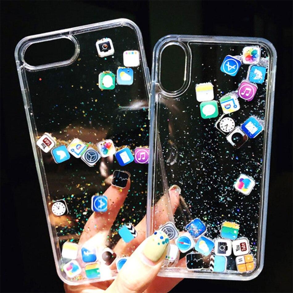Capa de areia movediça bonito app ícone caso para iphone x xr xs max para iphone 11 pro 6 7 8 plus luxo dinâmico líquido glitter caso de telefone