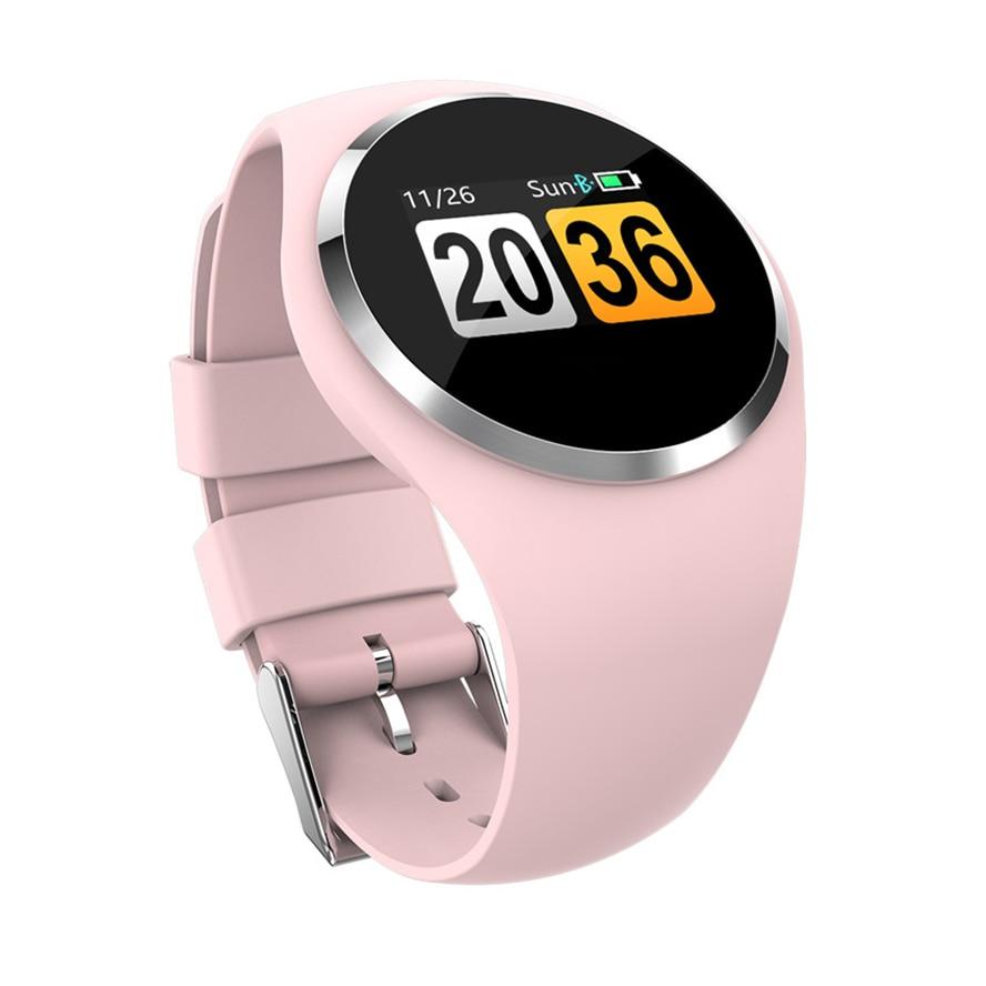 Reloj inteligente Q1 de acero inoxidable para hombre y mujer, reloj inteligente resistente al agua con Bluetooth, pulsera redonda de Gel de sílice